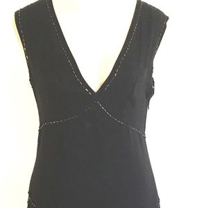 Michael Kors Beaded Details 100% Silk Black Dress